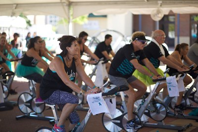 Newk's Cares Co-Founder Lori Newcomb joins riders in pedaling toward a cure at the third annual Ovarian Cycle(R) Jackson spin celebration.
