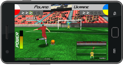 joyn the future of gaming, business and personal applications. Above: penalty shootout, mobile 3D football (soccer), a real-time low-latency, multi-player mobile game developed with Jibe Mobile's SDK and powered by the Jibe Cloud.  (PRNewsFoto/Jibe Mobile)