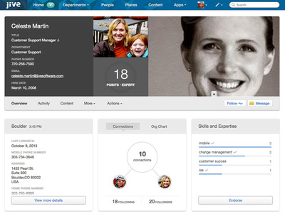 Jive's Social Directory provides a simple way to find experts and source talent inside the company. People can now endorse colleagues' skills -- making it easier than ever to find the person with the right expertise. Employees can use these new expertise identification capabilities to find experts quickly. For example, when creating new groups or projects, Jive auto-suggests colleagues that match the needed talents. Additionally, Jive's profiles now offer a 360-degree view of fellow employees, including how they are connected within the org, their most impactful contributions, and trending content and recent activity, plus a gallery view of photos.  (PRNewsFoto/Jive Software, Inc.)