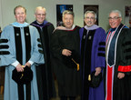 From left: Dr. Michael P. O'Connor, Executive Vice Dean for Finance & Administration; Dr. Charles N. Bertolami, Herman Robert Fox Dean and Professor of Oral and Maxillofacial Surgery at NYUCD; Mr. Steven W. Kess, Vice President of Global Professional Relations, Henry Schein, Inc.; Dr. Stuart M. Hirsch, Vice Dean for Development, International Initiatives, and Student Affairs; Dr. Cosmo V. De Steno, Associate Dean for Clinical Affairs.