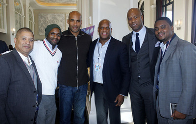 BET Real Husbands star Boris Kudjoe is flanked by political and business leaders at the W Hotel Parade Inaugural Brunch sponsored by Bartenura. Left to Right: Darren Watts, Malik Husser, BET Real Husbands star Boris Kudjoe, Rick C. Wade, Engel Burns, Chaka Burgess.  (PRNewsFoto/Bartenura Wines)