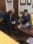 Congressman Chaka Fattah meets with Robert Fetell, a student at Germantown Friends School, who was honored as the winner of the Congressional App Challenge for Pennsylvania's Second District.