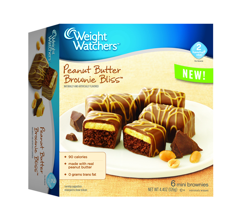 Peanut Butter Brownie Bliss(TM) is an indulgent brownie, layered with creamy, real peanut butter and covered in a chocolaty coating. (PRNewsFoto/Weight Watchers Sweet Baked Good)