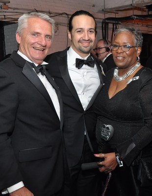 "Backstage at the 2016 Tony Awards, left to right: Carnegie Mellon University's Drama School Head, Dr. Peter Cooke; ""Hamilton"" creator and multiple Tony Awards winner, Lin-Manuel Miranda; and 2016 Excellence in Theatre Education Award winner, Marilyn McCormick. (Photo credit: Tony Awards)"