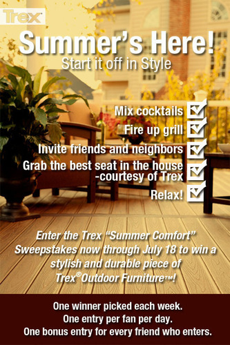 "Trex's ""Summer Comfort"" sweepstakes will give Facebook users a chance to enter everyday for four weeks, with a weekly drawing for a different piece of comfortable and stylish Trex(R) Outdoor Furniture(TM).  (PRNewsFoto/Trex Company)"