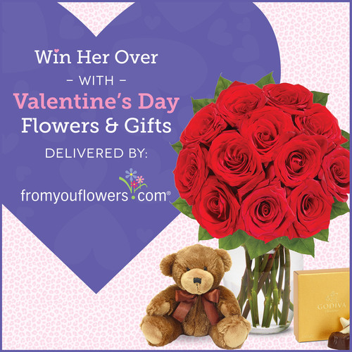 Win Her Over with Valentine's Day Flowers and Gifts, Delivered by From You Flowers. (PRNewsFoto/From You ...