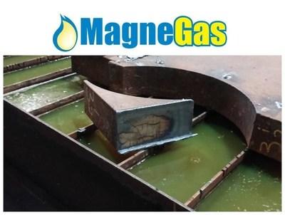 "3.5"" A36 Hot Roll plate cut at Elenbaas Steel Supply cutting speed 13.5 ipm normal speed 9 ipm. (PRNewsFoto/MagneGas Corporation)"