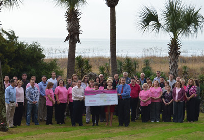 Members of VacationMyrtleBeach.com present a check for more than $10,000 to the American Cancer Society.  (PRNewsFoto/VacationMyrtleBeach.com)