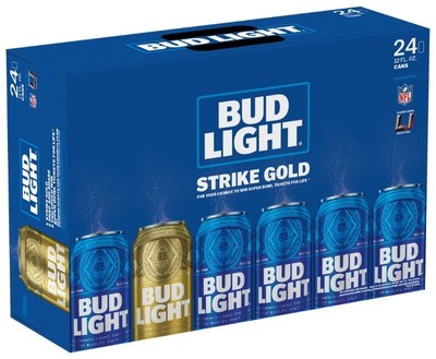 """Bud Light is further celebrating passionate NFL fans around the league by introducing limited-edition """"Strike Gold"""" Super Bowl-themed packaging. Randomly seeded in select packs are gold Super Bowl 51 cans, which - when found - give fans the opportunity to enter for a chance to score big at the end of the season and win tickets to attend the Super Bowl each year for the rest of their life (up to 51 years)."""
