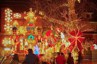 A home in Dyker Heights exudes holiday spirit with lights and decorations. Redfin named Dyker Heights the best neighborhood to see holiday lights in the nation.  (PRNewsFoto/Redfin)