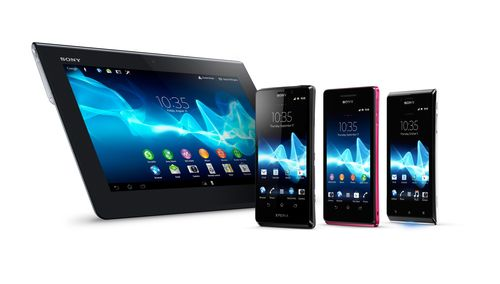 From left to right: Xperia Tablet S, Xperia T, Xperia V and Xperia J