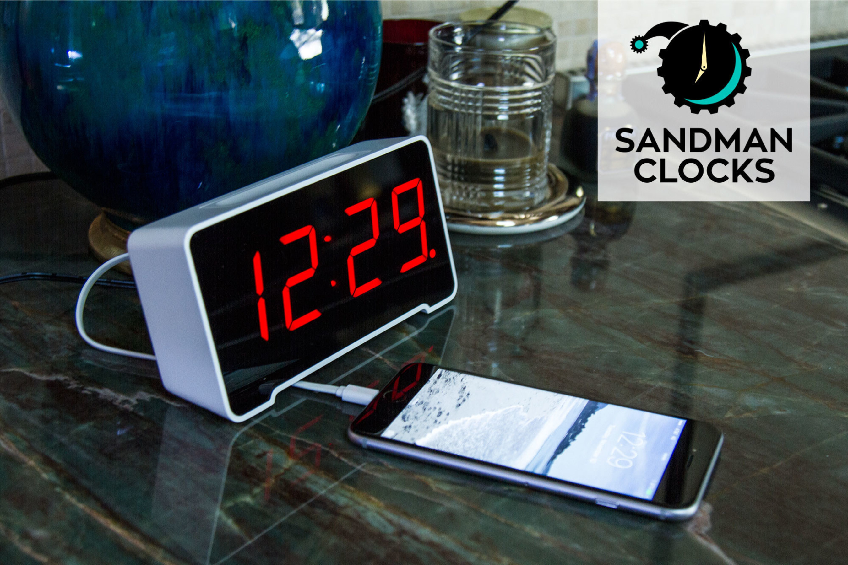 The Sandman Clock - The only alarm clock under $50 with integrated cable management and 4 USB charging ports - SandmanClocks.com