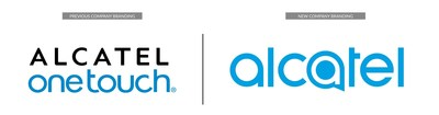 Previous Alcatel branding (Left) versus the new company branding unveiled at 2016 Mobile World Congress (Right).