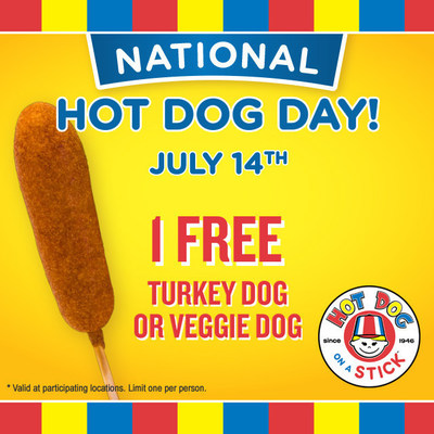 Free Hot Dog on a Stick for National Hot Dog Day, July 14!