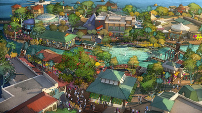 With a flowing spring as a centerpiece, Disney Springs will feature four outdoor neighborhoods including the two shown in an artist's conceptual rendering. The Town Center (lower portion of the image) will offer one-of-a-kind shopping and dining experiences along a promenade while The Landing (upper portion of the image) will include inspired dining and beautiful waterfront views. (Disney)