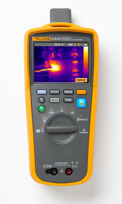 The 279 FC allows technicians to quickly and safely check for hot spots in fuses, wires, insulators, connectors, splices, and switches with the imager and then troubleshoot and analyze issues with the DMM.
