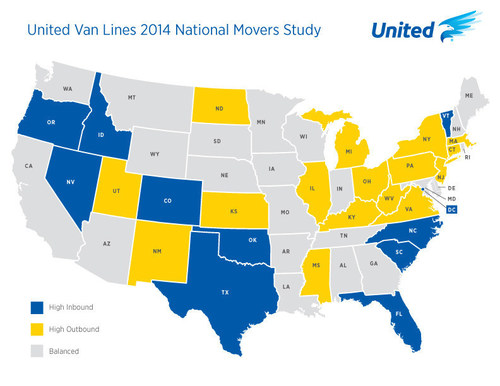 United Van Lines' Annual National Movers Study shows top inbound and outbound states of the year and ...