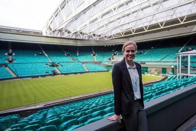 IES intern at the Wimbledon Lawn Tennis Museum in England.  (PRNewsFoto/IES Abroad)