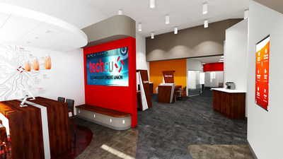 Tech CU's branch experience was engineered for increased member interaction through Service Spots, interactive digital signage, eye-popping branding and an inviting atmosphere
