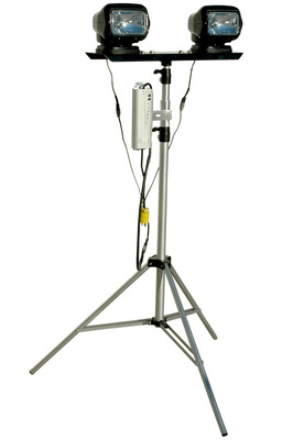 This dual HID remote control spotlight tripod contains two HID Golight light heads that produce 3,000 lumens each while drawing 35 watts at 0.3 amps, for a combined a total of 6,000 of intense light output at 70 watts and 0.6 amp draw. Each light features 370 degrees rotation and 140 degrees tilt while producing a focused spot beam with limited spread or light spillage (over 5000' in length Spot Beam). Both light heads move simultaneously, requiring only one remote to operate both lights.  (PRNewsFoto/Larson Electronics)