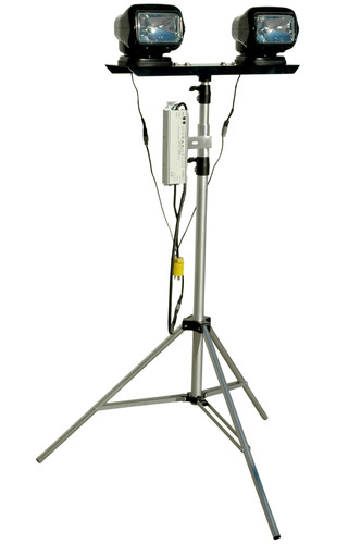 This dual HID remote control spotlight tripod contains two HID Golight light heads that produce 3,000 lumens ...
