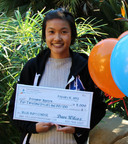 UCSB student Josephine Nguyen receives $5,000 towards housing at the Villas at Tropicana for her winning video 'Tropicana Love.'  (PRNewsFoto/Tropicana Student Housing)