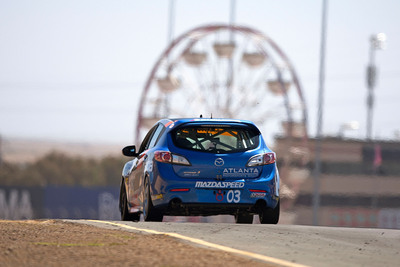 The view of championship winner Michael Cooper's MAZDASPEED3 most of the field had during the 2012 Pirelli World Challenge Touring Car Championship season.  (PRNewsFoto/Mazda North American Operations)