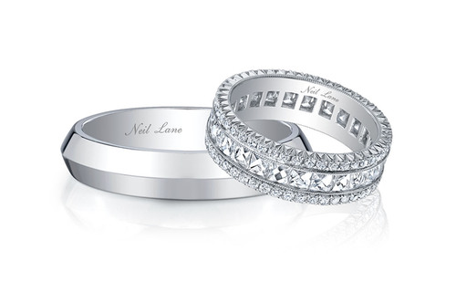 Bachelorette couple Ashley Hebert and J.P. Rosenbaum selected Neil Lane wedding bands for their big day, as ...