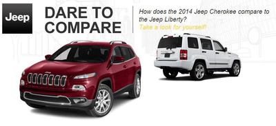 New 2014 Jeep Cherokee is compared to other vehicles.  (PRNewsFoto/Palmen Motors)
