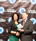 Lisa Markovic, Country Manager for the United States of America, accepting the Best Business Class Award on behalf of Qatar Airways at the Business Traveler Awards 2013.  (PRNewsFoto/Qatar Airways)