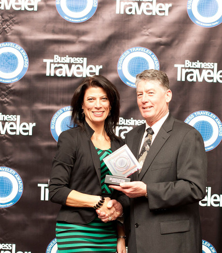 Lisa Markovic, Country Manager for the United States of America, accepting the Best Business Class Award on ...