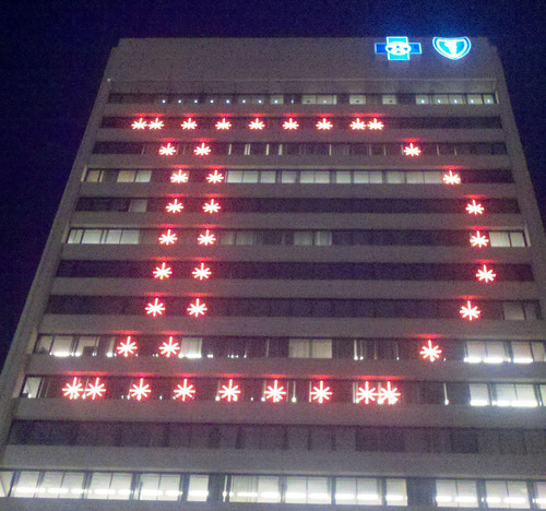 LED light display of Olde English D on the BCBSM building in Detroit.  (PRNewsFoto/Blue Cross Blue Shield Blue Care Network of Michigan)