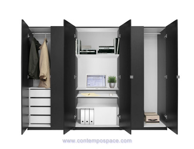 This Wardrobe Closet Is Outfitted With Space Saving Features Useful To  Students.