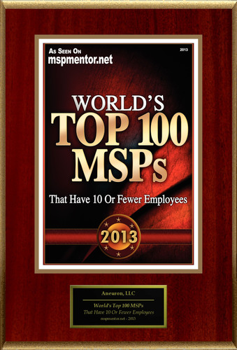 "Aneuron, LLC Selected For ""World's Top 100 MSPs"".  (PRNewsFoto/American Registry)"