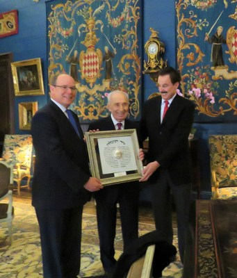 His Serene Highness Prince Albert II, Crowne Prince of Monaco, receiving the Friend of Zion Award from Israel's 9th President Shimon Peres and Dr. Mike Evans