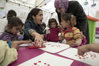 UNICEF supporter and CHIME FOR CHANGE campaign Co-Founder Salma Hayek meets with Syrian refugee children and aid workers who are providing a safe environment through counselling, play and learning activities. On April 25, Hayek visited Syrian refugees in Lebanon's Bekaa Valley with UNICEF to draw attention to the urgent humanitarian needs of children and families in the region, and to launch Gucci's CHIME for the Children of Syria fundraising appeal.
