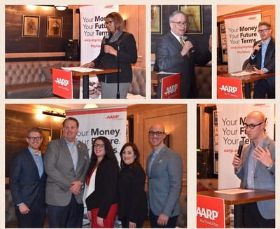 "New York City Public Advocate Letitia James and City Comptroller Scott Stringer joined Demos' Mark Huelsman, Young Invincibles' Kevin Stump and AARP's Chris Widelo, Kristen McManus and Beth Finkel at ""Cheers to Your Future."""