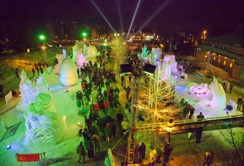 People flock to the International Snow Sculpture Championships, which gives rise to a temporary outdoor art ...