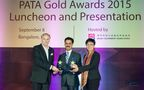 Mr. Mario Hardy, PATA, CEO and Ms. Maria Helena de Senna Fernandes, Director of the Macau Government Tourist Office presenting the award to Mr. Rajnish Sabharwal, COO, TUTC