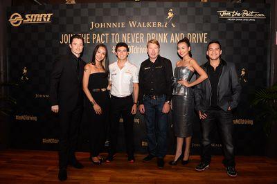 Johnnie Walker Join the Pact ambassadors - from left - Olli Pettigrew, Rosalyn Lee, Sergio Perez, Mika Hakkinen, Thanh Hang and Mario Lawalata (PRNewsFoto/JOHNNIE WALKER)