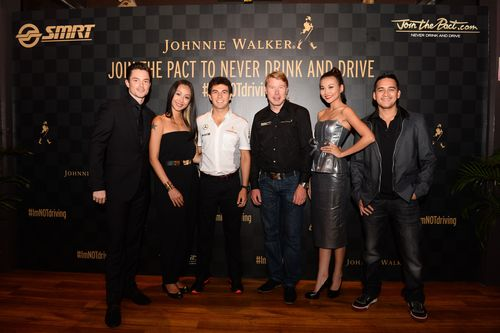 Johnnie Walker Join the Pact ambassadors - from left - Olli Pettigrew, Rosalyn Lee, Sergio Perez, Mika Hakkinen, Thanh Hang and Mario Lawalata (PRNewsFoto/JOHNNIE WALKER)