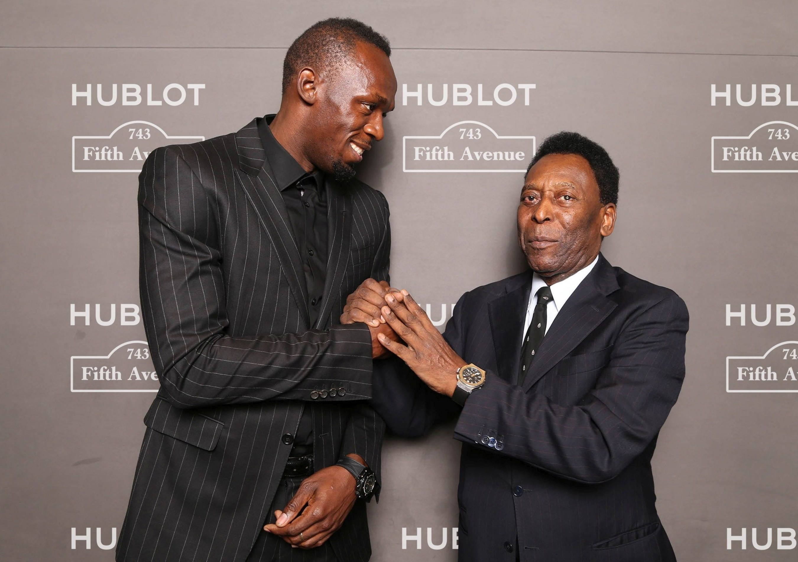 Usain Bolt and Pele at Hublot 5th Avenue (NYC) Boutique Opening