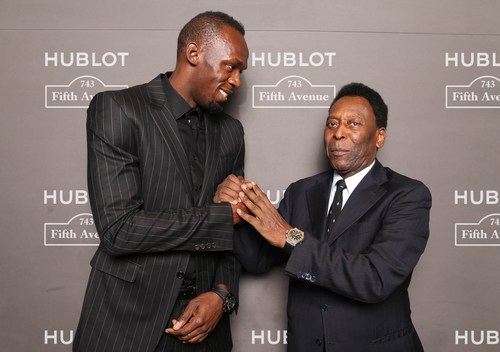 Usain Bolt and Pele at Hublot 5th Avenue (NYC) Boutique Opening (PRNewsFoto/HUBLOT)