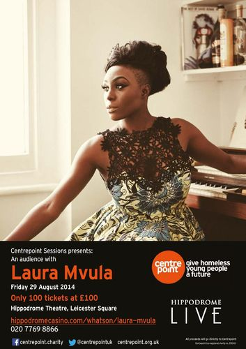 Centrepoint Sessions presents 'An Audience with Laura Mvula', which will take place on Friday 29 August, just 100 tickets will be released for this exclusive show, priced at £100 each; with all funds raised being donated to Centrepoint. The hour long performance will include tracks from Laura's acclaimed debut album 'Sing to the Moon', which has been re-recorded with Dutch jazz orchestra The Metropole Orkest and is now on sale. (PRNewsFoto/Centrepoint)