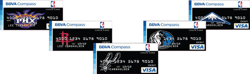 Fans can select their favorite NBA team logo for their NBA Banking debit card and earn points to purchase NBA merchandising.  (PRNewsFoto/BBVA Compass)