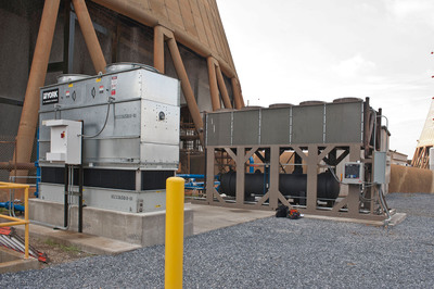 Shown is the thermosyphon cooler being tested at the Water Research Center at Georgia Power's Plant Bowen.  (PRNewsFoto/Georgia Power)