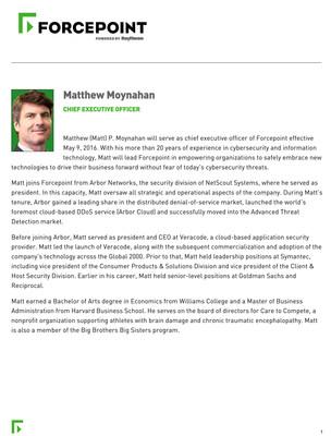 Forcepoint CEO Matthew P. Moynahan Bio