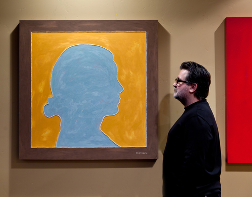 Artist Andy Lakey with Painting No. 8 (2011).  (PRNewsFoto/Contemporary Visual Arts)