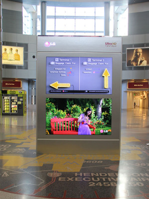 Recently installed at McCarran International Airport, LG's 84-inch class Ultra HD display is the flagship of its large-screen commercial displays showcase at the Digital Signage Expo in Las Vegas.  (PRNewsFoto/LG Electronics USA, Inc.)