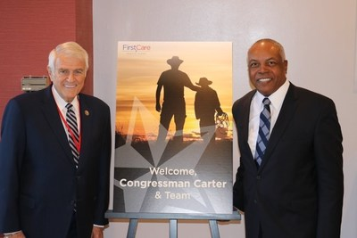 Rep. Carter (left) and FirstCare President and CEO Darnell Dent (right) at FirstCare's corporate headquarters.